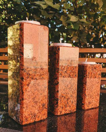 Подсвечники из натурального камня, красного гранита, ручная работа