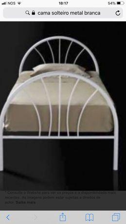 Cama de ferro branca solteiro com colchao