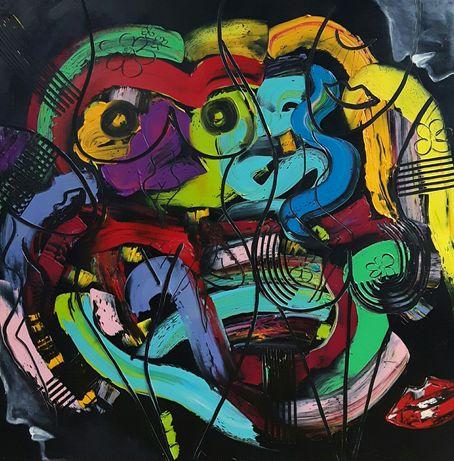 KOBIETA abstrakcja obraz olejny duży 80x80 KatarzynaArt