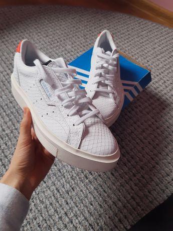 Adidas buty sneakersy super sleek skórzane białe 40