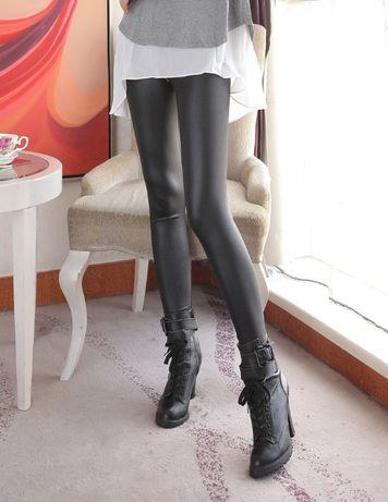 Legginsy stretch kolor skóry metaliczne elastyczne S/M skórzane spodni