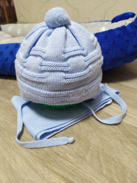 Зимняя шапка с шарфом для малыша от 0 до 3 месяцев