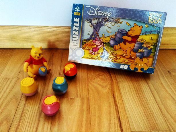 Puzzle Disney Kubuś Puchatek 60 el.+ figurka Kubusia z garnuszkami.
