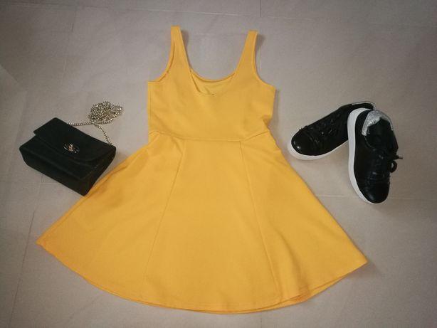 Sukienka na szelkach żółta H&M rozmiar 38 / 40 M/ L