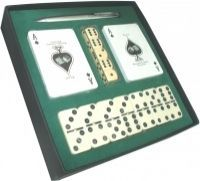 Caixa com 2 Baralhos de Cartas + Dominó + Jogo de Dados + Caneta