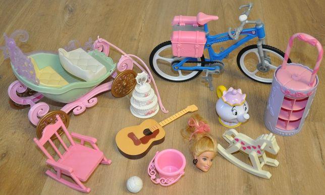 Mattel-dodatki dla Barbie,rower,kareta,gitara,regał na buty,fotel,tort