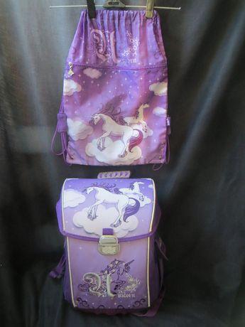 Рюкзак каркасный kite единорог+мешок для сменки
