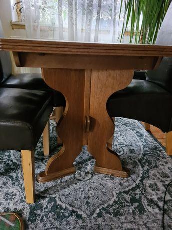 Stół dębowy rozkładany 4 krzesła