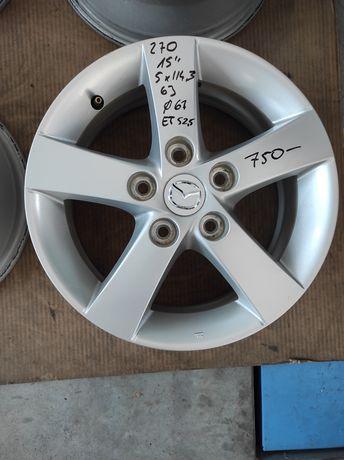 270 Felgi aluminiowe ORYGINAŁ MAZDA R 15 5x114,3 otwór 67 Ładne