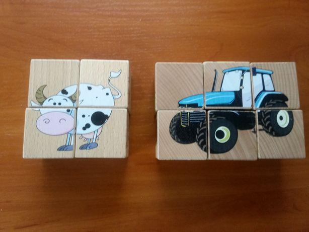 Sześcienne drewniane klocki. Drewniana układanka