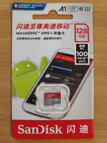 Карта памяти MicroSD SanDisk Ultra 128 GB Class10 UHS-I Новая! 1500р