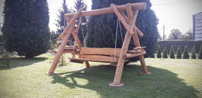 Huśtawka z bali-huśtawka ogrodowa-meble ogrodowe-huśtawka-drewniana