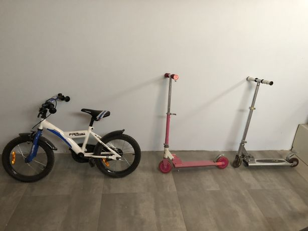 Hulajnoga x 2 plus rower dzieciecy