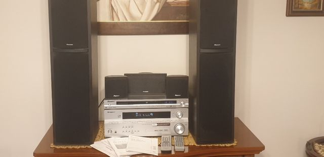 Kino domowe PIONEER odtwarzacz DVD+Amplituner+komplet głośników