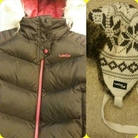 Kurtka narciarska dziewczęca WEDZE + czapka WED'ZE