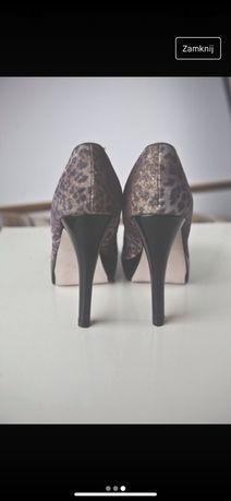 Buty na wysokim obcasie w panterkę platforma bardzo wysoki obcas r41