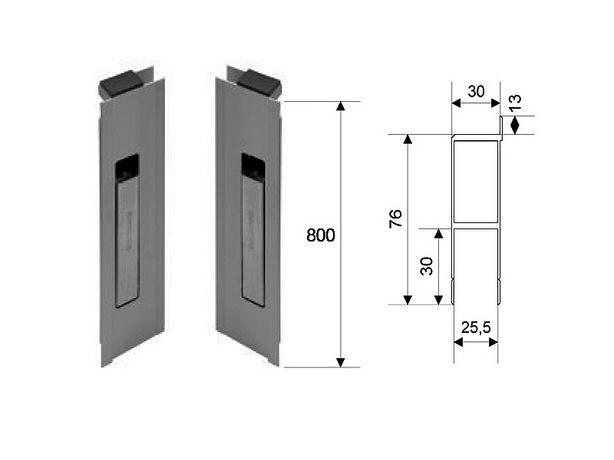 Zamek pionowy burty aluminiowej z noskiem uszczeln H800