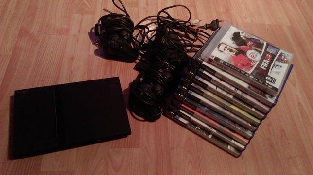 Playstation 2 + 10 gier + 2 pady + okablowanie, konsola PS2