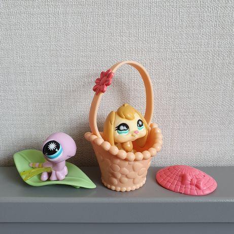 zestaw Littlest Pet Shop ważka #865 królik #864 akcesoria Spring Pets