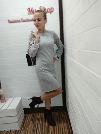 Платье свободного кроя серое плаття сукня 42 44 46