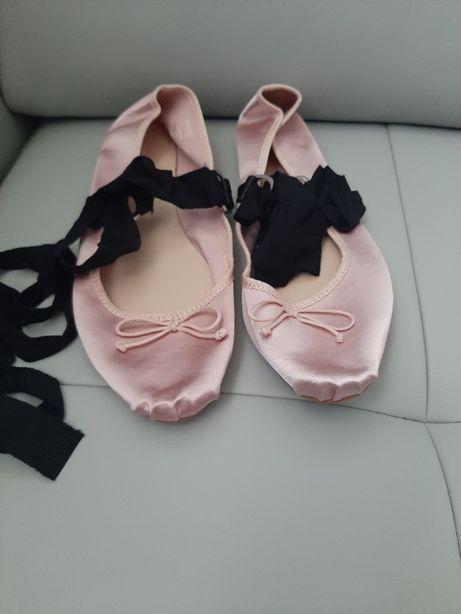 Nowe Satynowe baleriny z detalami z imitacji skóry, 39