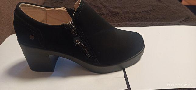 Buty damskie botki-nowe r.36-skóra czarne Okazja!