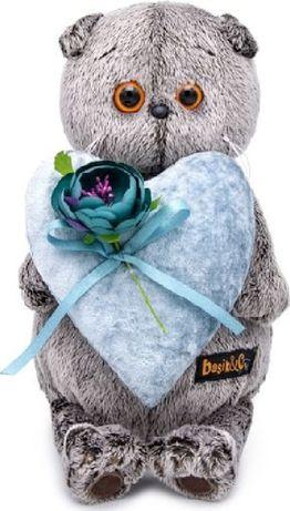 Мягкая игрушка Budi Basa Кот Басик с сердцем из бархата 19 см