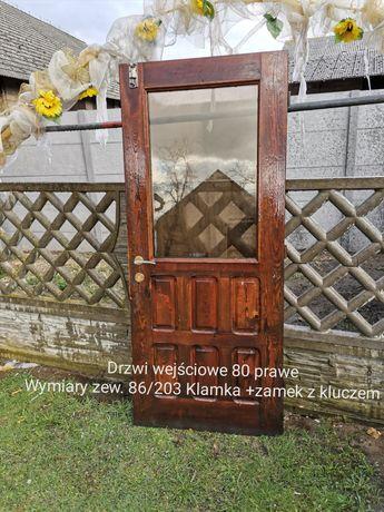 Drzwi zewnętrzne drewniane , skrzydło  80