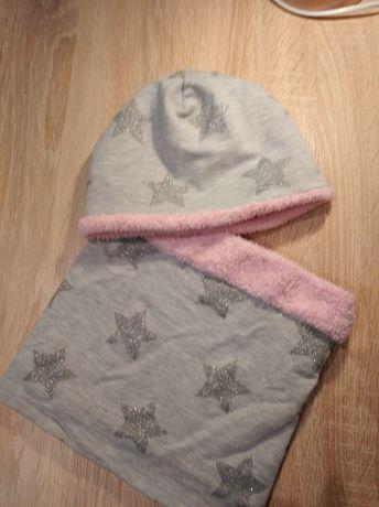 Ocieplany komplet czapka i komin dla dziewczynki 4-6lat