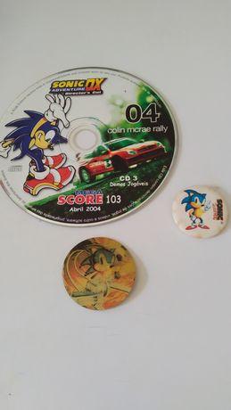 3 Artigos Sonic (CD, tazo e crachá)