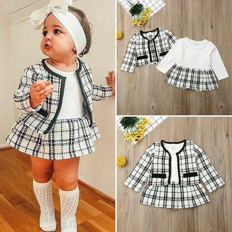Conjunto menina casaco e Vestidinho xadrez