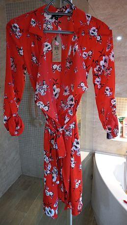 Sukienka tally weijl 34 36 S XS czerwona kwiaty