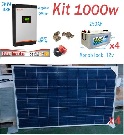 Kit Solar 48v 1000w/Hora Inversor 5000va MPPT 60A Bateria Monoblock