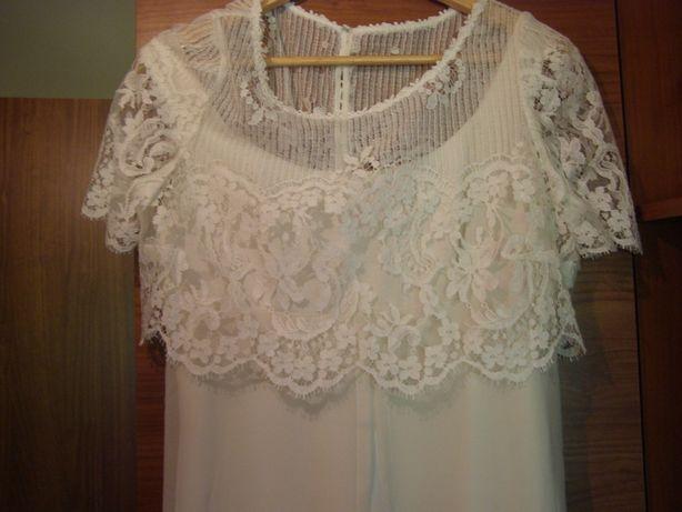 suknia ślubna- typ princeska r.38 kolor kremowy
