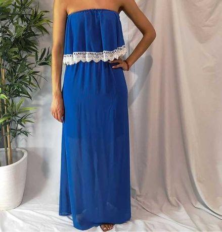 Vestido cai cai azul folhos