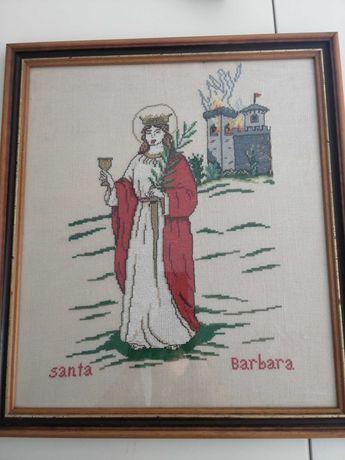 Quadro Santa Bárbara linho e ponto de cruz 46*52cm