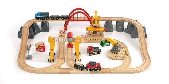 BRIO Деревянная ж/д с мостовым краном Люкс 33097