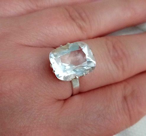 Кольцо колечко с горным хрустелем СССР серебро 875 Горный хрусталь