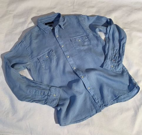 Мужская рубашка Tommy Hilfiger лён р.L-XL Zegna Dsquared дизайнерская