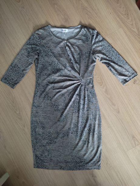 Sukienka szara popielata, długi rękaw, rozmiar M, 38 Livili