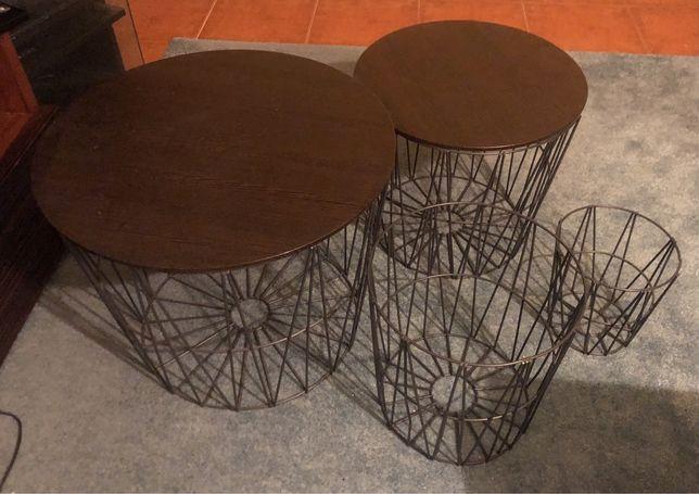 Mesa de apoio, cestos