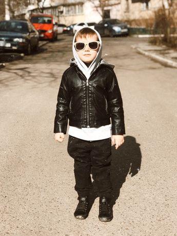 Кожанная куртка НМ H&M детская утепленная