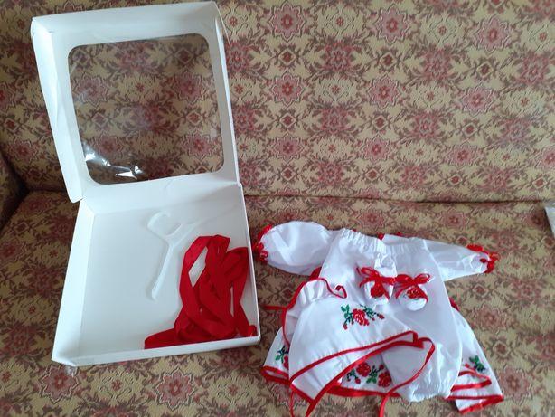 Набір костюм вишивка на ХРЕЩЕННЯ для дівчинки набор