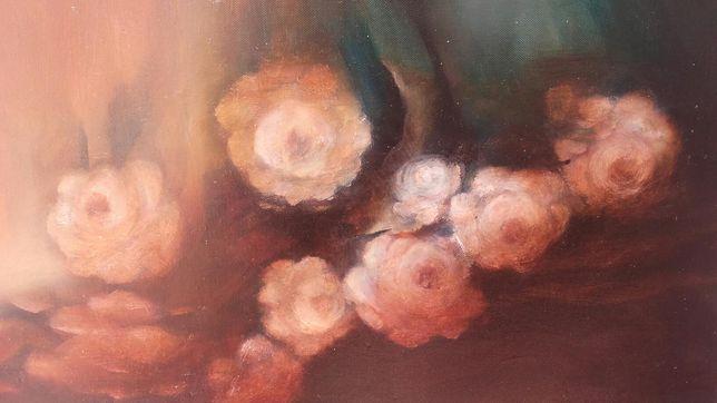 Pintura a óleo com flores. Assinado: Carmo Pavi91.