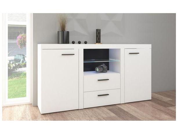 Komoda duża szafka do salonu z szufladami biała sonoma 156 cm