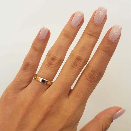 Przepiękna Złota Obrączka Ślubna Profil Płaski Fazowany