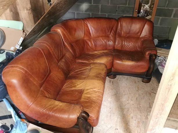 Narożnik Sofa skórzana skórzany skóra brąz brązowa 220x160