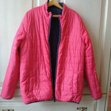 Куртка для девочки двухсторонняя, розовая/синия демисезонная, 158-164