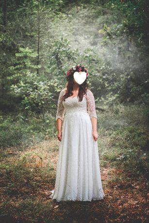 Suknia ślubna koronka, muślin - SABE