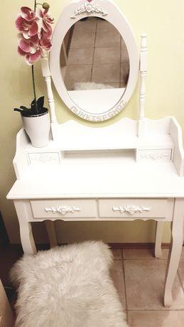 Toaletka lustro biała drewno +krzesło